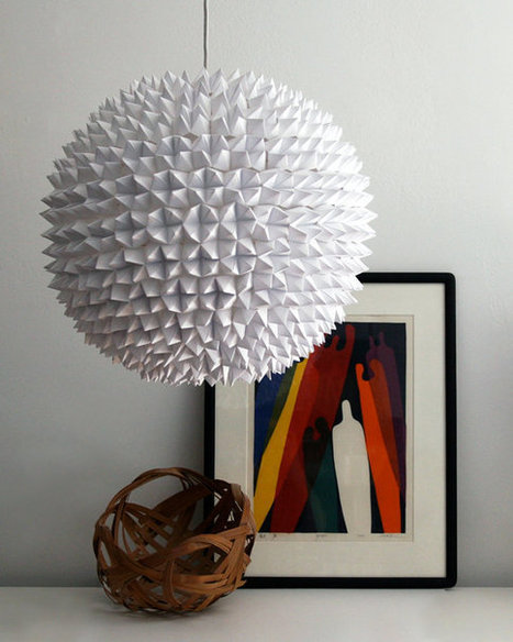 White Folded Paper Hanging Sphere Lamp | Made with (and of) Paper | Scoop.it
