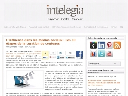 L'influence dans les médias sociaux : Les 10 étapes de la curation de contenus   Websourcing.fr   Le curateur   Scoop.it