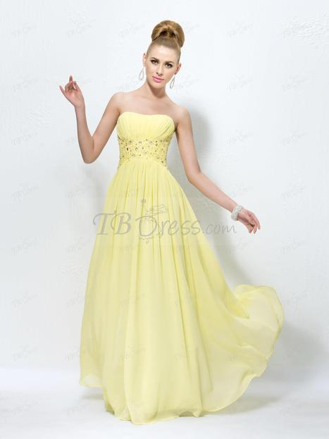 $ 90.49 Elegant A-Line Sequins Appliques Strapless Pleats Prom Dress Designed Independently   one-piece dress   Scoop.it