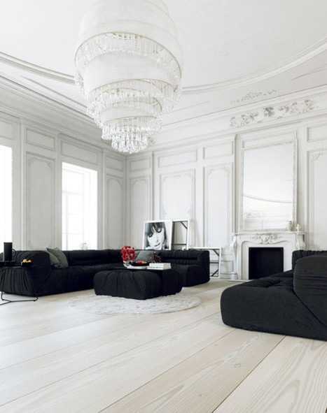 Parisian Apartment's Interior Design in White Walls, Simple Black Sofa and Enormous Spiral Chandelier   Decorating Ideas - Home Design Ideas   Scoop.it