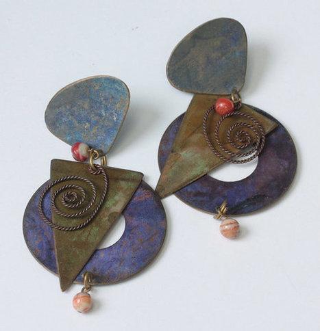 Artisan Dangle Earrings Bold Colorful Boho Pierced Posts Vintage   Vintage Jewelry   Scoop.it