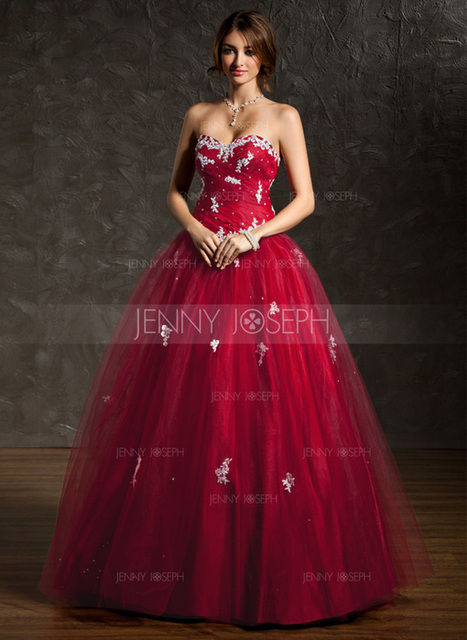 [€ 150.22] Duchesse-Linie Herzausschnitt Bodenlang Tüll Quinceañera Kleid (Kleid für die Geburtstagsfeier) mit Rüschen Spitze Perlen verziert Pailletten (021004666)   jenjenhouse   Scoop.it