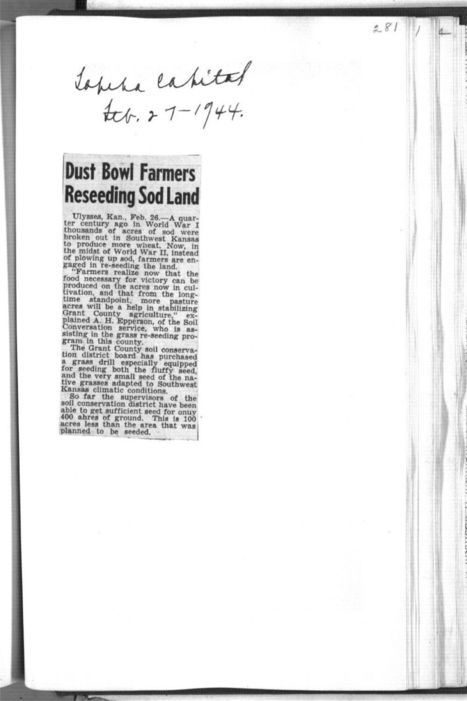 Day 2, Primary source #3: Dust Bowl farmers reseeding sod land - Kansas Memory | The Dust Bowl in the 1030's | Scoop.it