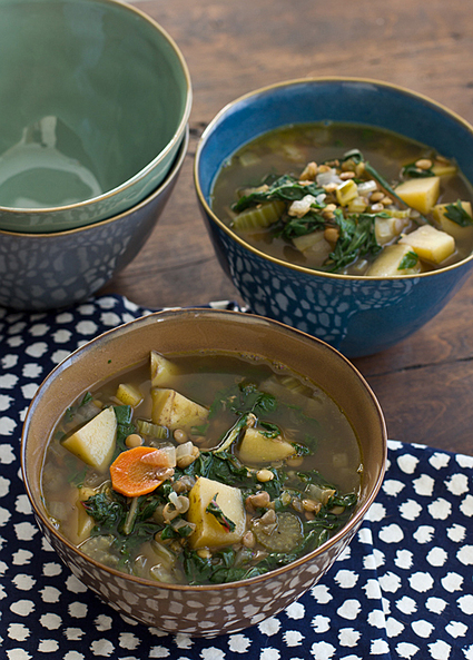 Chard, Lentil & Potato Slow Cooker Soup Recipe | Vegetarian slow cooker recipes | Scoop.it