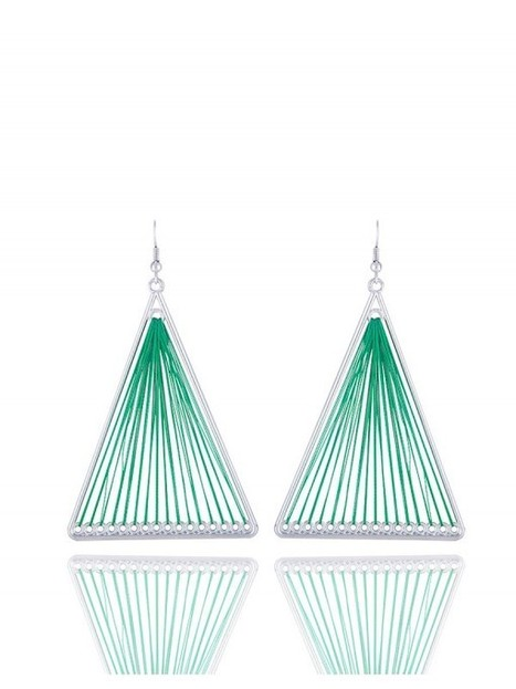 Blingside Green triangle shaped earrings | Rudraksha 3D T-Shirts at Shoppingustad | Scoop.it