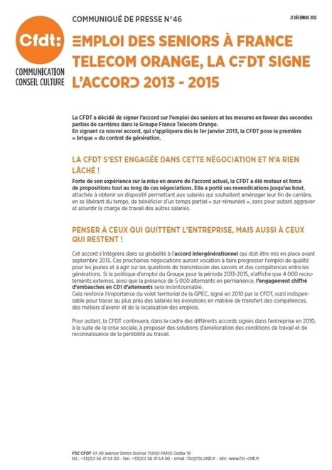 Emploi des Seniors à France Télécom Orange, la CFDT signe l'accord 2013-2015   Geeks   Scoop.it