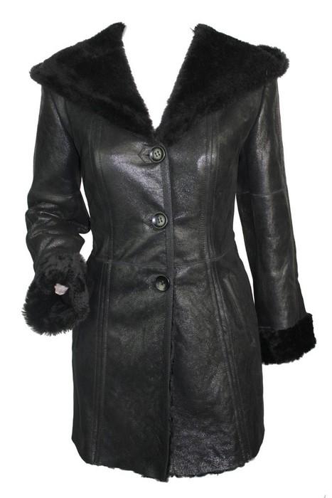 Ladies 100% Real Toscana Fur Sheepskin Leather Vintage Winter Aviator Hood Jacket Coat Black | Womens Clothing | Scoop.it