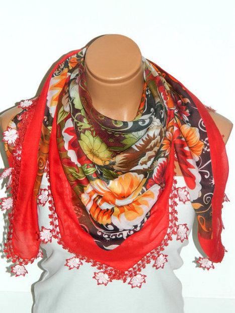 RED Multicolor  Turkish Yemeni OYA Scarf ..bridal,scarf,authentic, romantic, elegant, fashion, personalized design... by WomanStyleShop | women fashion | Scoop.it