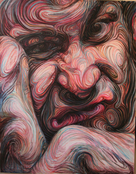 Swirling, Psychedelic Self-Portraits by Nikos Gyftakis #art #painting #selfportratit | Media & Art Education | Scoop.it