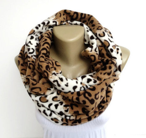 leopard infinity scarf ,eternity fleece scarf ,leopard print fashion scarves for her ,beige brown , chunky circle winter scarf | scarf | Scoop.it