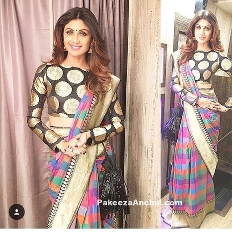 Shilpa Shetty in Manish Malhotra's Silk Saree and Boat Neck Blouse | Indian Fashion Updates | Scoop.it
