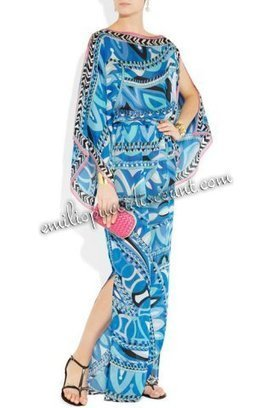 EMILIO PUCCI Blue Printed Silk-Chiffon Kaftan Long Dress [Kaftan Dress Blue] - $205.99 : Emilio pucci dresses online outlet,discount pucci dresses on sale! | chic items | Scoop.it