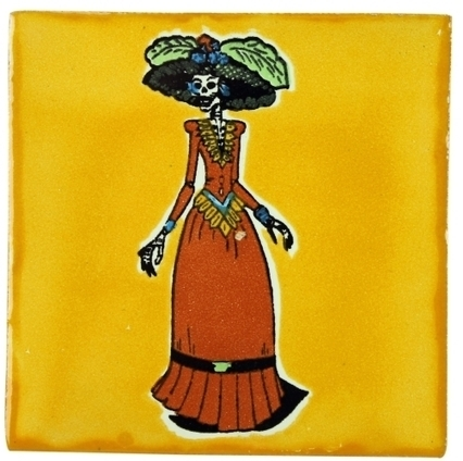 Red Dress Catrina Ceramic Tile Yellow | Mexican Furniture & Decor | Scoop.it