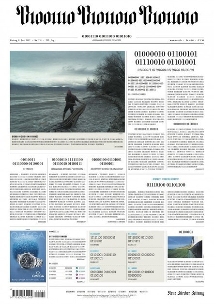 Swiss newspaper prints its entire front page in binary to celebrate going fully digital | New inventions | Scoop.it