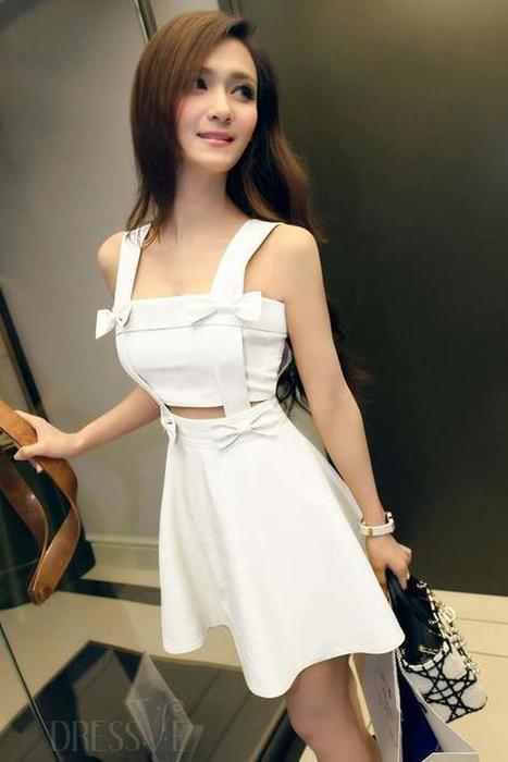 Yellow/White Sexy Strapless Day Dress | Dressve fashion | Scoop.it