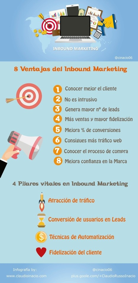 8 ventajas y 4 pilares del Inbound Marketing #infografia #infographic #marketing | social media marketing | Scoop.it