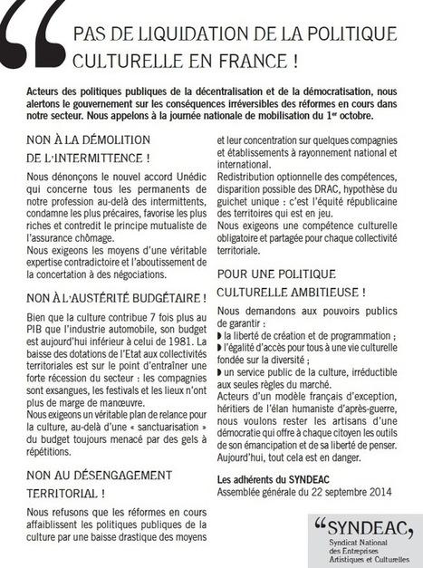Pas de liquidation de la politique culturelle en France ! | Lutte des intermittents | Scoop.it