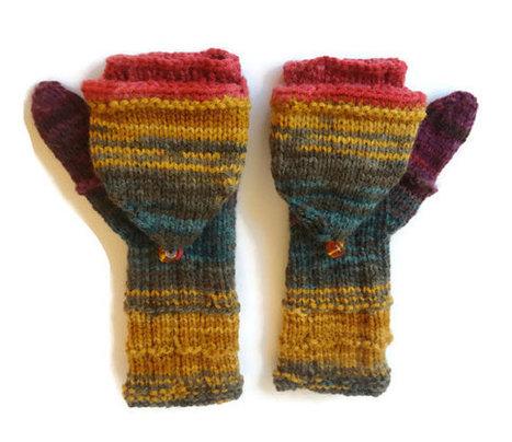 convertible fingerless mittens / colorful fingerless gloves / crochet knit gloves , batik design | Winter Fashions | Scoop.it
