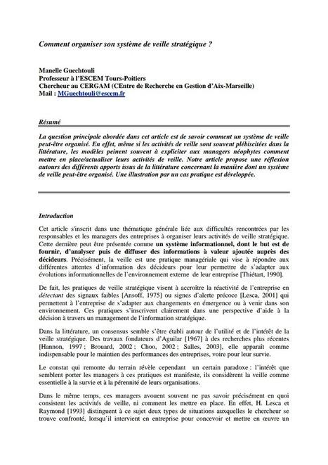 Comment organiser son système de veille stratégique ? | François MAGNAN  Formateur Consultant | Scoop.it