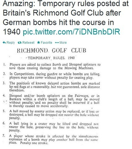 German Bombs Change British Golf Rules in 1940 | Social Studies Infromation | Scoop.it