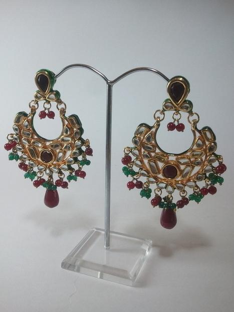 Kundan Earrings stone jewellery, Kundan Earrings - Red Green Stones | Kundan Jewelry | Scoop.it