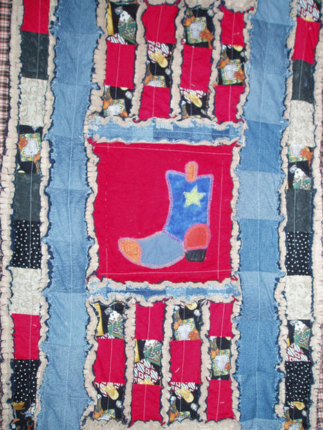 "Delightful Original ""First Rodeo"" Memory Baby Quilt recycled denim, red, blue Hand Embroidered Heirloom Rag Quilt 