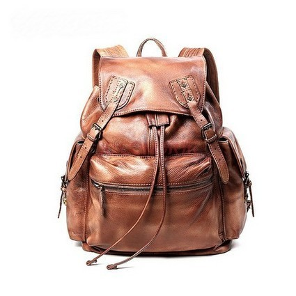 Distressed leather drawstring backpack for women brown by Ubackpack | Collection of backpack | Scoop.it