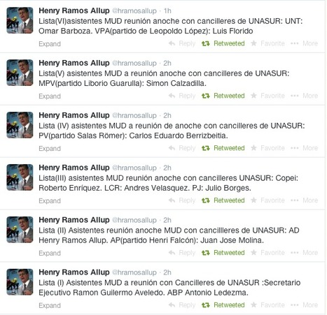 Informó @hramosallup #6Tuits… Asistentes anoche a la reunión MUD-UNASUR | País...Venezuela | Scoop.it