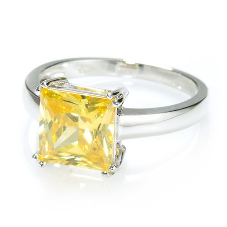 Yellow Princess Cut Solitaire Ring with 3.67 carat Brillianite. 925 Sterling Silver. Comfort Fit.   Jewelry Trends   Scoop.it