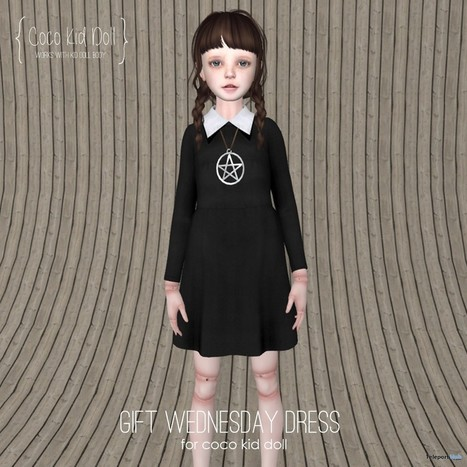 Wednesday Dress For Coco Kid Doll Group Gift by COCO Designs | Teleport Hub - Second Life Freebies | Second Life Freebies | Scoop.it