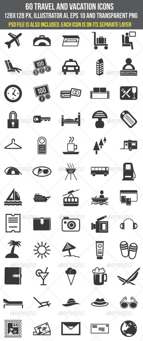 60 Travel and Vacation Icons (Icons) | GFX Database | GFX Download | Scoop.it