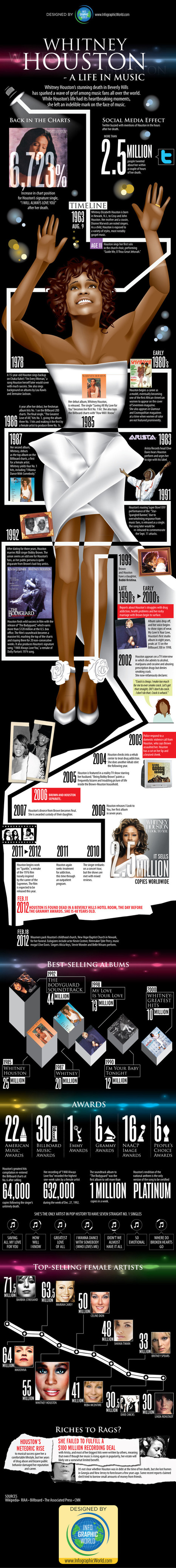 Whitney Houston: A Life in Music | INFOGRAPHICS | Scoop.it