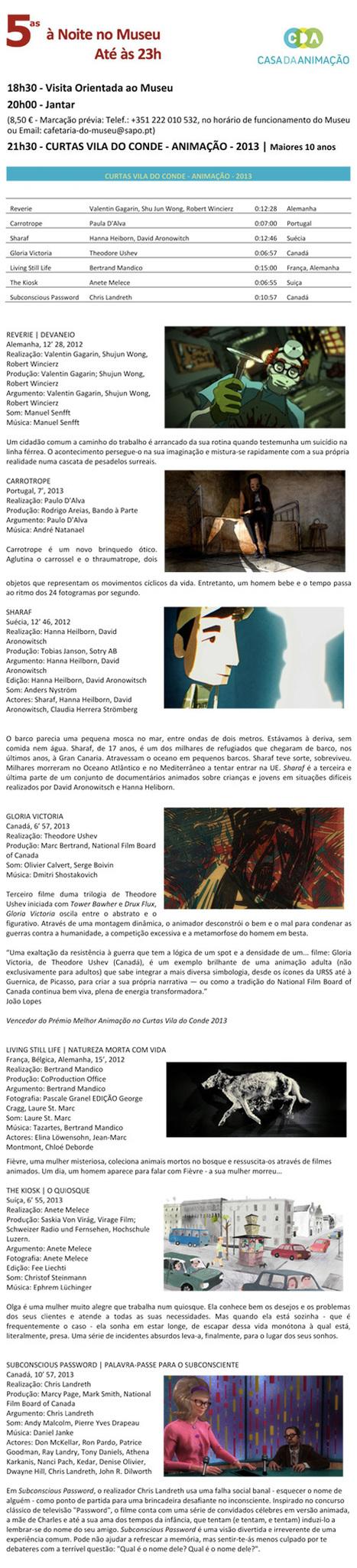 5as à Noite no Museu Nacional Soares dos Reis - CURTAS - VILA DO CONDE - 2013 | Bolso Digital | Scoop.it