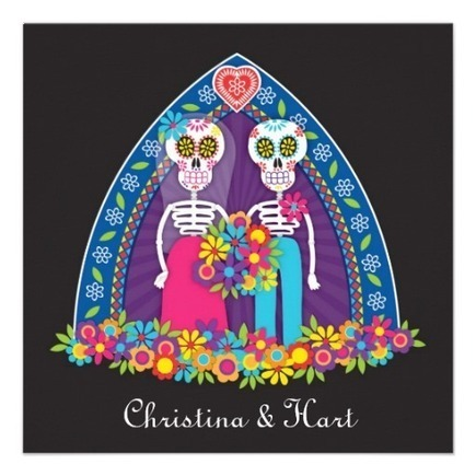 Sugar Skulls and Flowers Wedding Invitation from Zazzle.com | Altered Space Design | Scoop.it