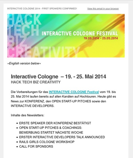 Newsletter 02-2014: INTERACTIVE COLOGNE 2014 (19-25 May 2014): FIRST SPEAKERS CONFIRMED / START-UP PITCHES / INTERACTIVE DEVELOPERS / RAILS GIRLS   Web de Cologne   Scoop.it