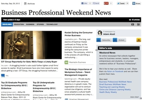 Sept 29 - Business Professional Weekend News | Business Futures | Scoop.it