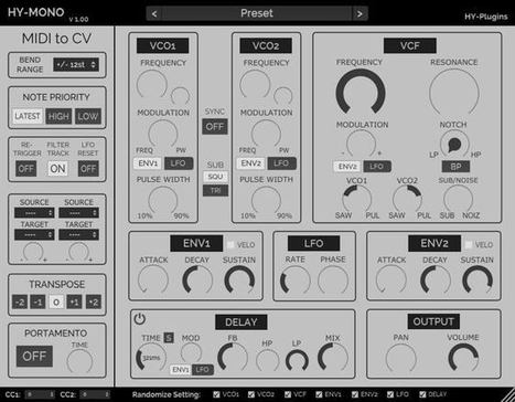 HY-Mono Free Synth Plugin Released by HY-Plugins | Music Producer News - Loops & Samples | Scoop.it
