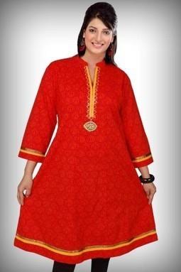 Anarkali Red Printed Cotton Kurti-M-199 - ANARKALI | KURTIS | Scoop.it