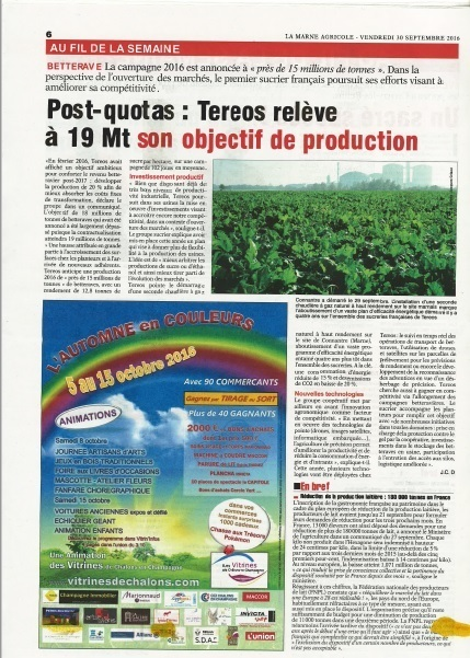 Article Marne Agricole - TEREOS relève à 19MT son objectif de production | Revue de Presse Agricole | Scoop.it