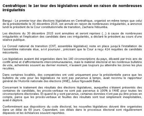 Centrafrique: le 1er tour des législatives annulé en raison de nombreuses irrégularités | Actualités Afrique | Scoop.it