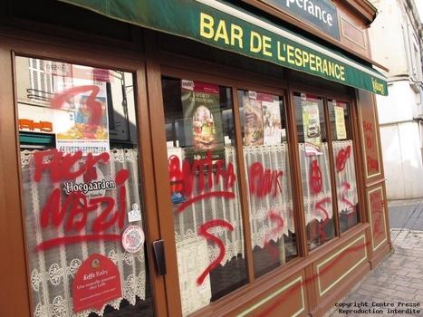 Un bar de Châtellerault recouvert de tags rouges outrageants | Chatellerault, secouez-moi, secouez-moi! | Scoop.it
