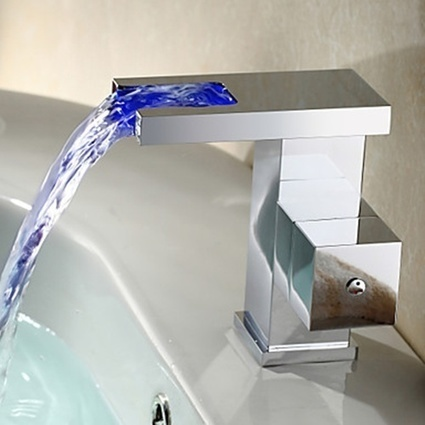 Contemporary Waterfall Color Changing LED Bathroom Sink Faucet - Faucetsmall.com | Bathroom Sink Faucets or Kitchen Faucets | Scoop.it