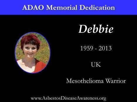 ADAO Memorial Dedication to Debbie Brewer, Mesothelioma Warrior | Asbestos and Mesothelioma World News | Scoop.it