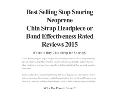 Best Selling Stop Snoring Neoprene Chin Strap Headpiece or Band Effectiveness Rated Reviews 2015 | winter | Scoop.it