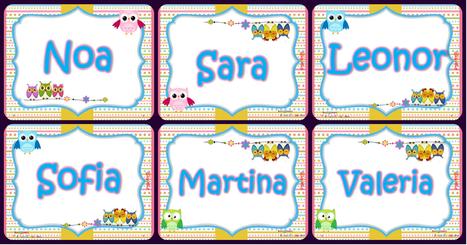 Tarjetas imprimibles y editables nombres de niños y de niñas - Imagenes Educativas | Recull diari | Scoop.it