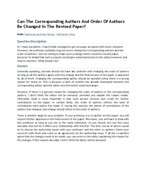 Can The Corresponding Authors And Order Of Authors Be Changed In The Revised Paper? | Education | Scoop.it