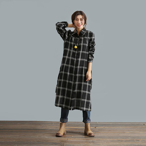 Black plaid long-sleeved cotton shirt and long sections irregular Shirt  : Robe par ebuicakebs | Ladies Fashion | Scoop.it