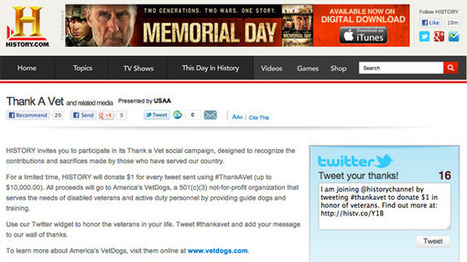 HISTORY to donate $1 per tweet to America's VetDogs for Memorial Day campaign | TV Trends | Scoop.it