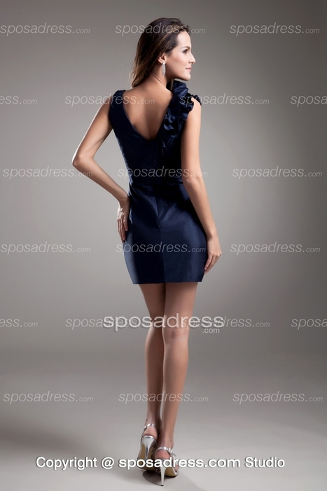 Mini Column/Sheath V Neck Dark Navy Taffeta Bridesmaid Dress - Sposadress.com | Fashion Dresses Online | Scoop.it