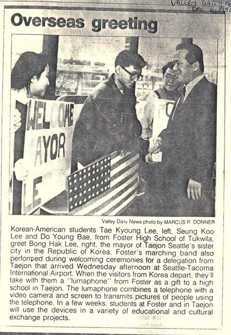 """Lumaphone Diplomacy,"" Seattle, USA-Taejon, Korea Sister City visit in December, 1990. 